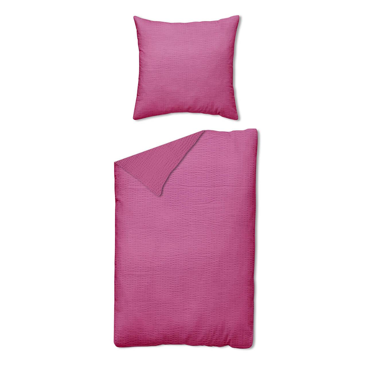Fein Seersucker Bettwäsche Uni Pink Homesphere