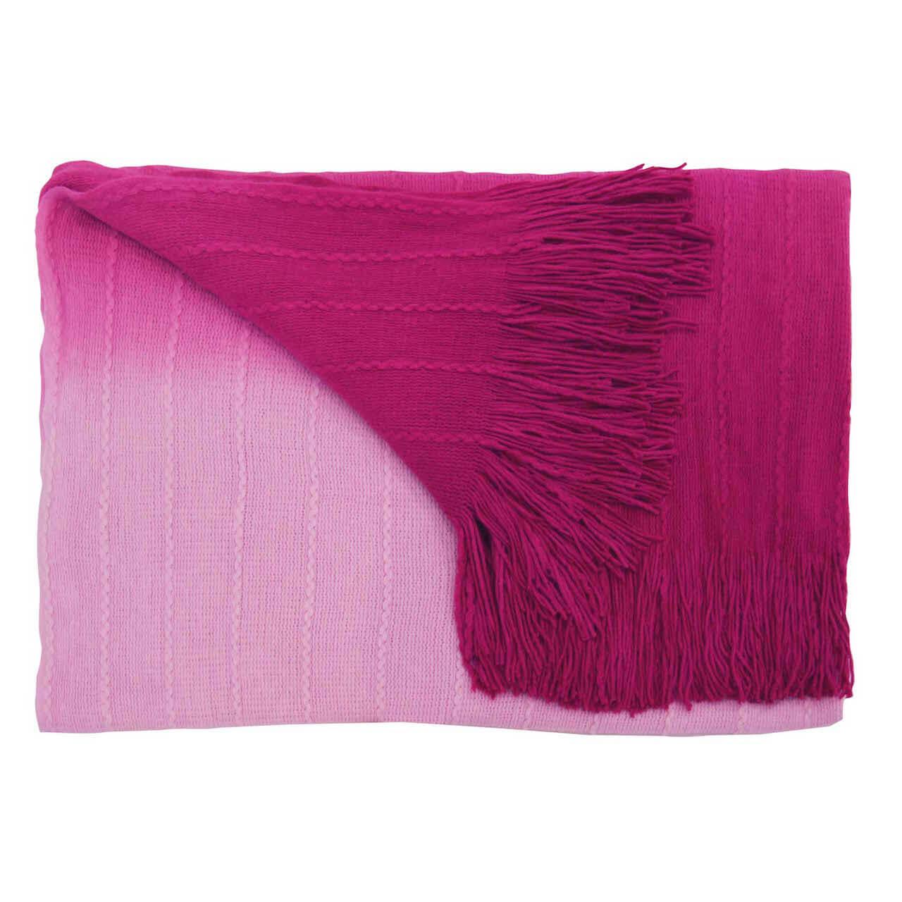Decke Farbe Fuchsia: Strickdecke Farbverlauf (Fuchsia)