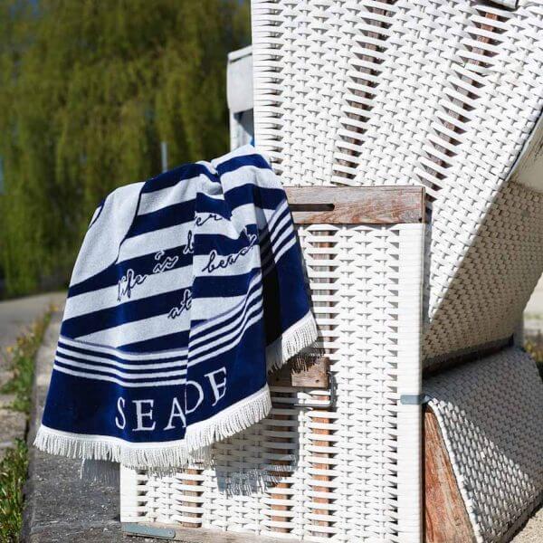Rundes Strandtuch Baumwolle blau