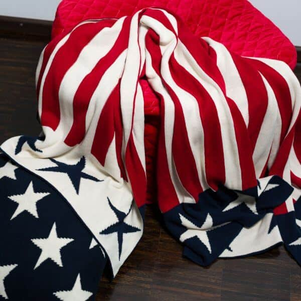 Strickdecke Baumwolle Stars & Stripes