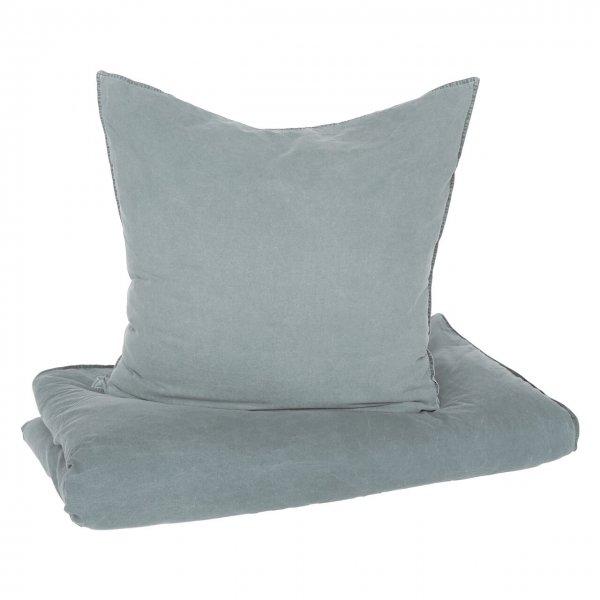 Bettwäsche Vintage Washed Cotton Mit Knöpfen Grau Homesphere