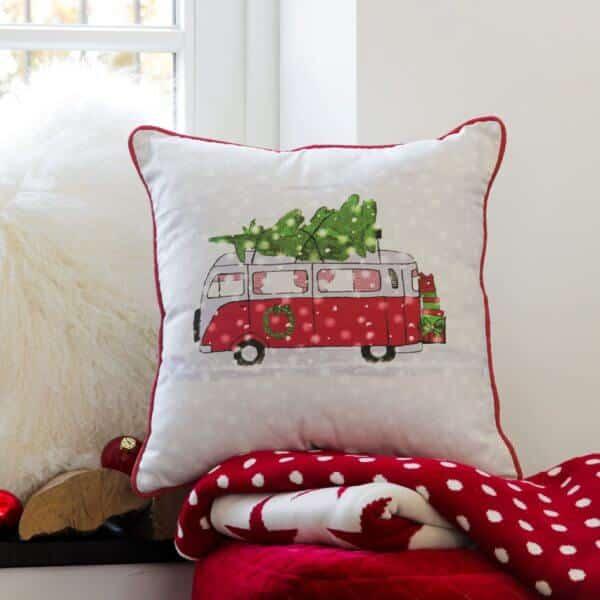 Dekokissen mit Weihnachtsbus (mit Füllkissen)
