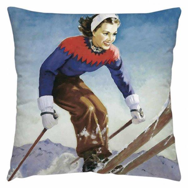 homesphere Samt Kissenhülle Skifahrerin
