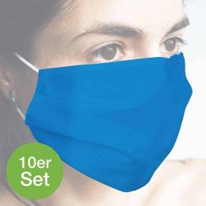 Baumwollmaske hellblau 10er Set