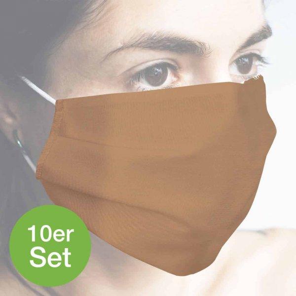 Baumwollmaske hellbraun 10er Set
