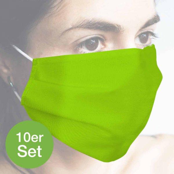 Baumwollmaske hellgrün 10er Set